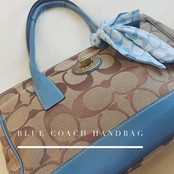 "Tan & Blue Coach Handbag Adorable tan and blue handbag perfect for the spring. Detachable scarf included. L15"" x H 10"" Coach Bags Shoulder Bags"