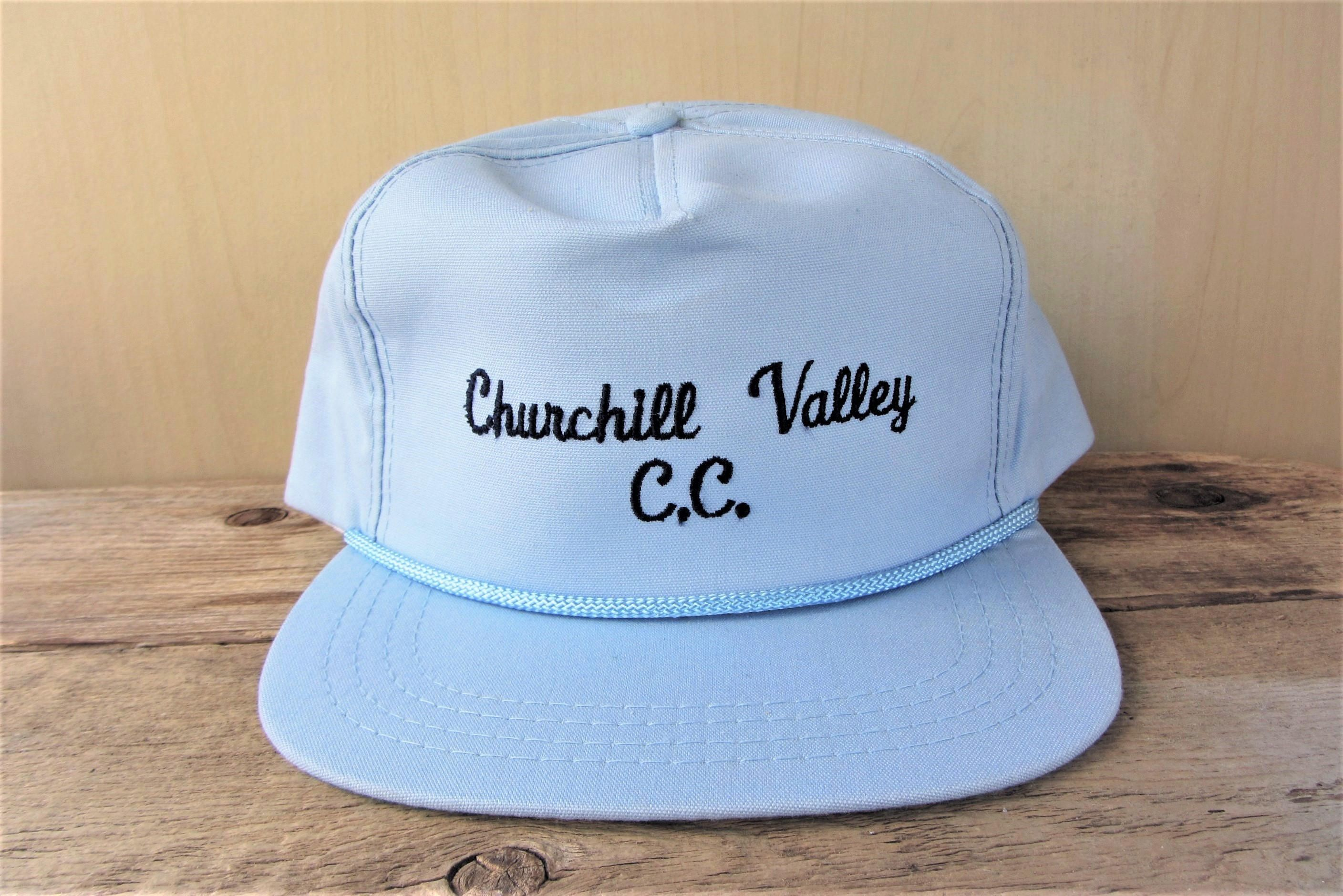 Churchill Valley Country Club Reserved Vintage 80s Light Blue Script Snapback Hat Rope Lined Derby Cap Obsolete Golf Course Pittsburgh Snapback Hats Vintage Golf Country Club