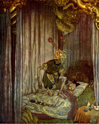 (by Edmund Dulac)  I've seen this before, but I'm not sure if it's a genie or just some uber creepy demon. Whatever it is, I would not care ...