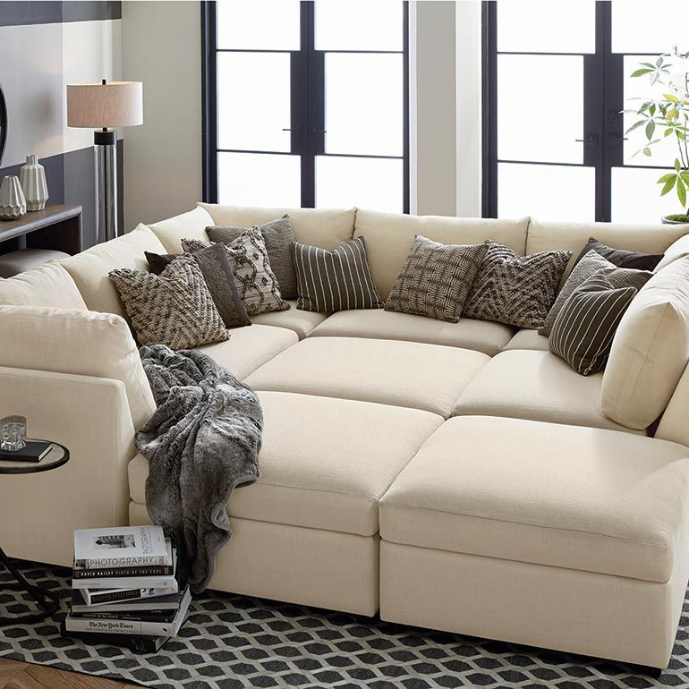 Beckham Upholstered Pit Sectional Living Room Bassett Furniture Comfortable Couch U Shaped Couch Pit Sofa