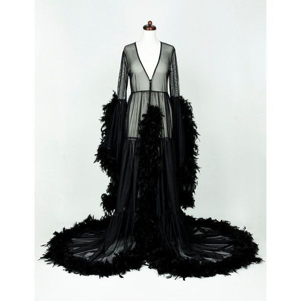 Black Burlesque Feather Robe Sheer Dressing Gown Pin Up ($480 ...