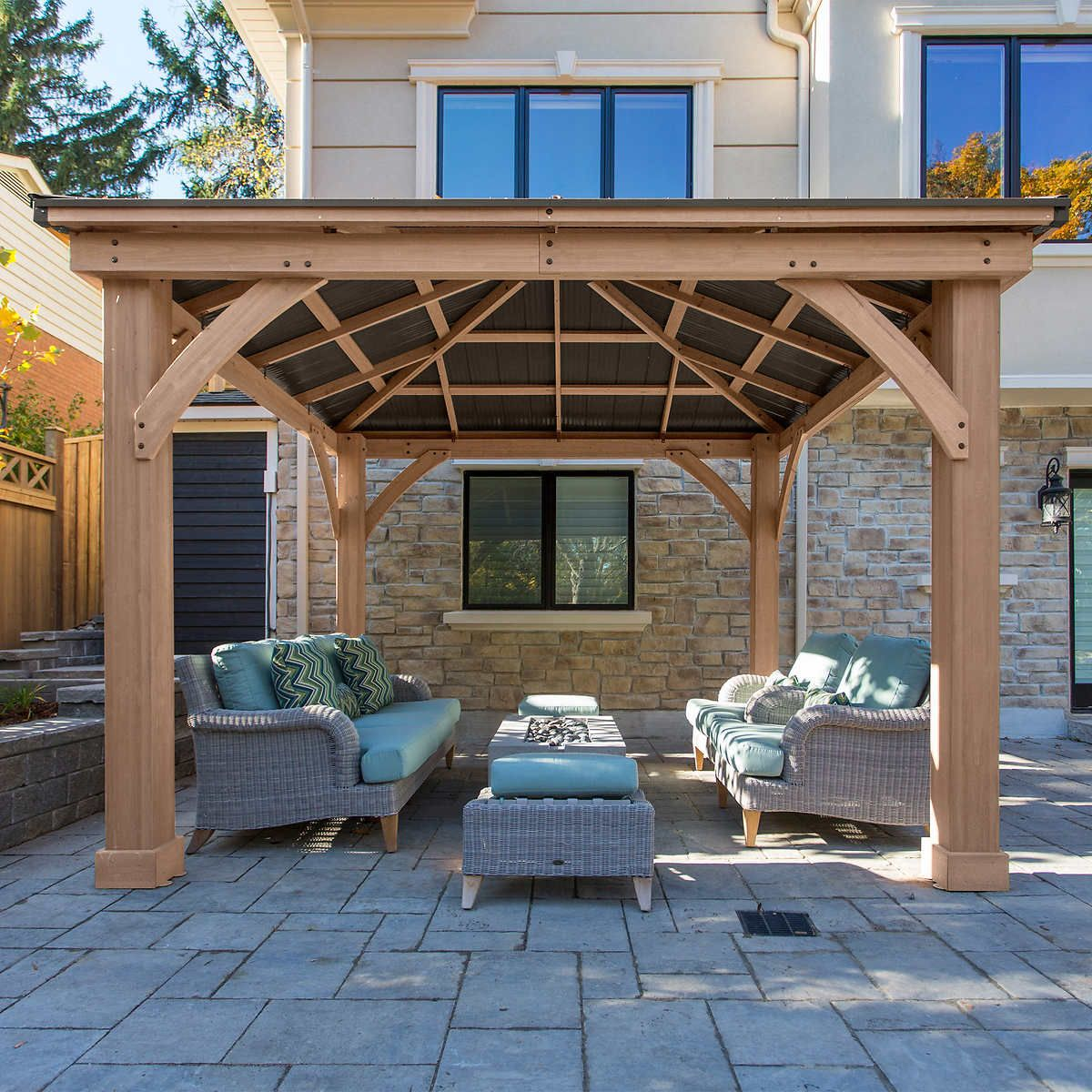 12 X 12 Cedar Gazebo With Aluminum Roof In 2020 Outdoor Pavillion Patio Outdoor Pergola