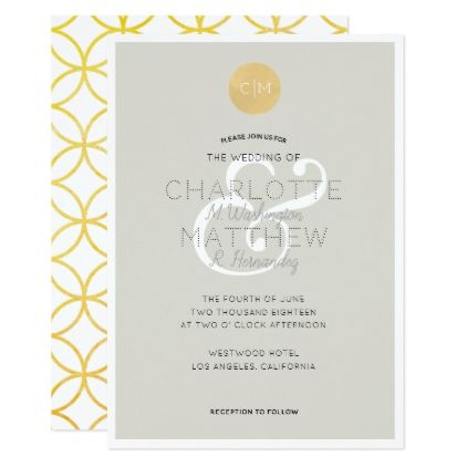 Gray w gold monogram geometric wedding invitation wedding gray w gold monogram geometric wedding invitation wedding invitations cards custom invitation card design marriage stopboris Images