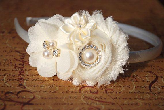 Ivory Shabby Chic, Flower Girl Headband, baby hair bows, wedding headband, baby headband, hard headband, toddler headband, bridesmaid on Etsy, $7.95
