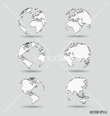 Set of modern globe drawing concept vector - by jannoon028 on VectorStock®