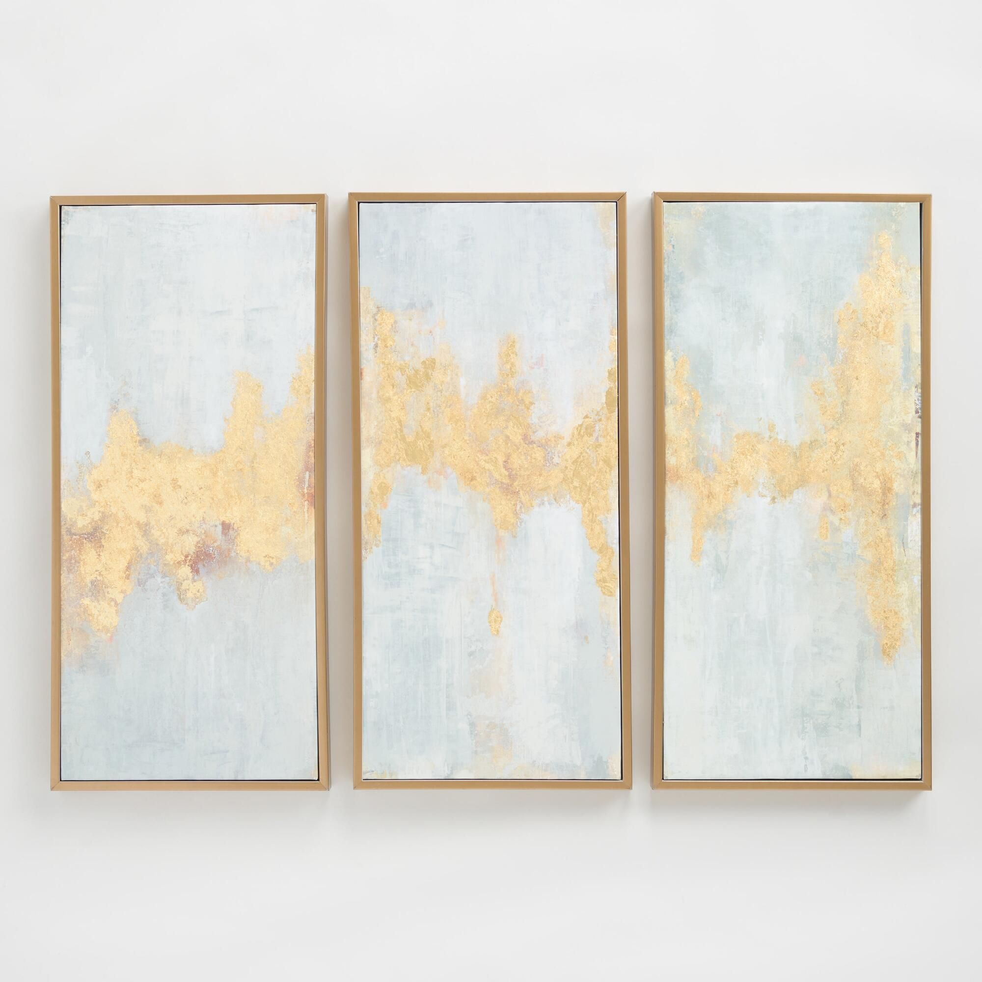 Fluent in golds triptych by elinor luna wall art set of world market also rh pinterest