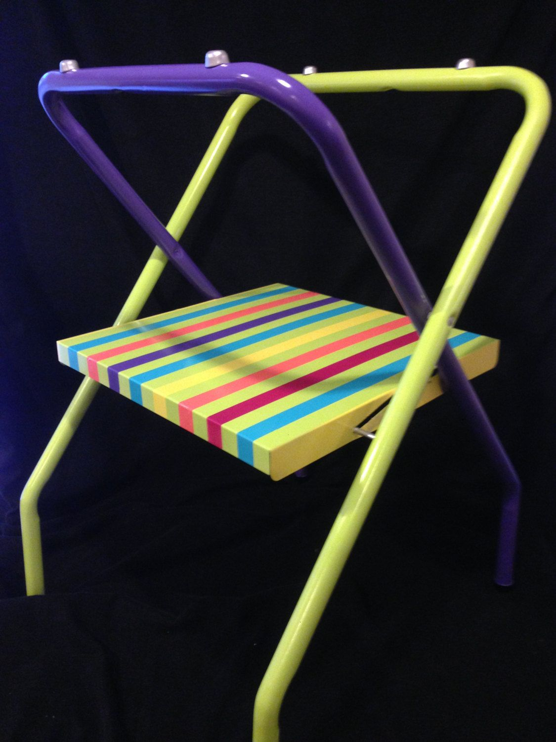 Rut Ro!  Colorfully Striped Busboy Tray Stand for your Summer Parties! by byRQ on Etsy