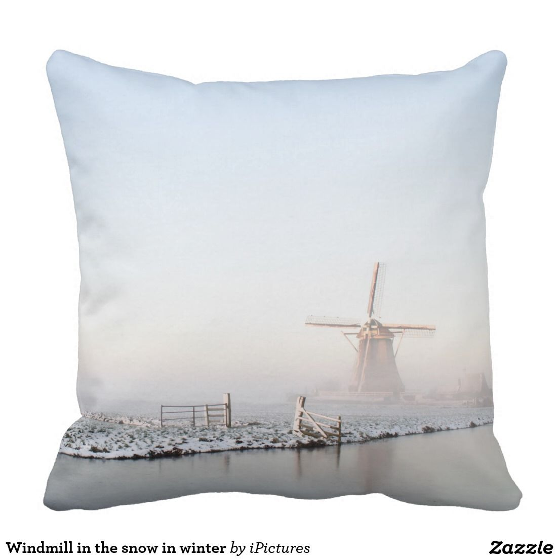 Windmill in the snow in winter throw pillow | Windmill, Pillows ...