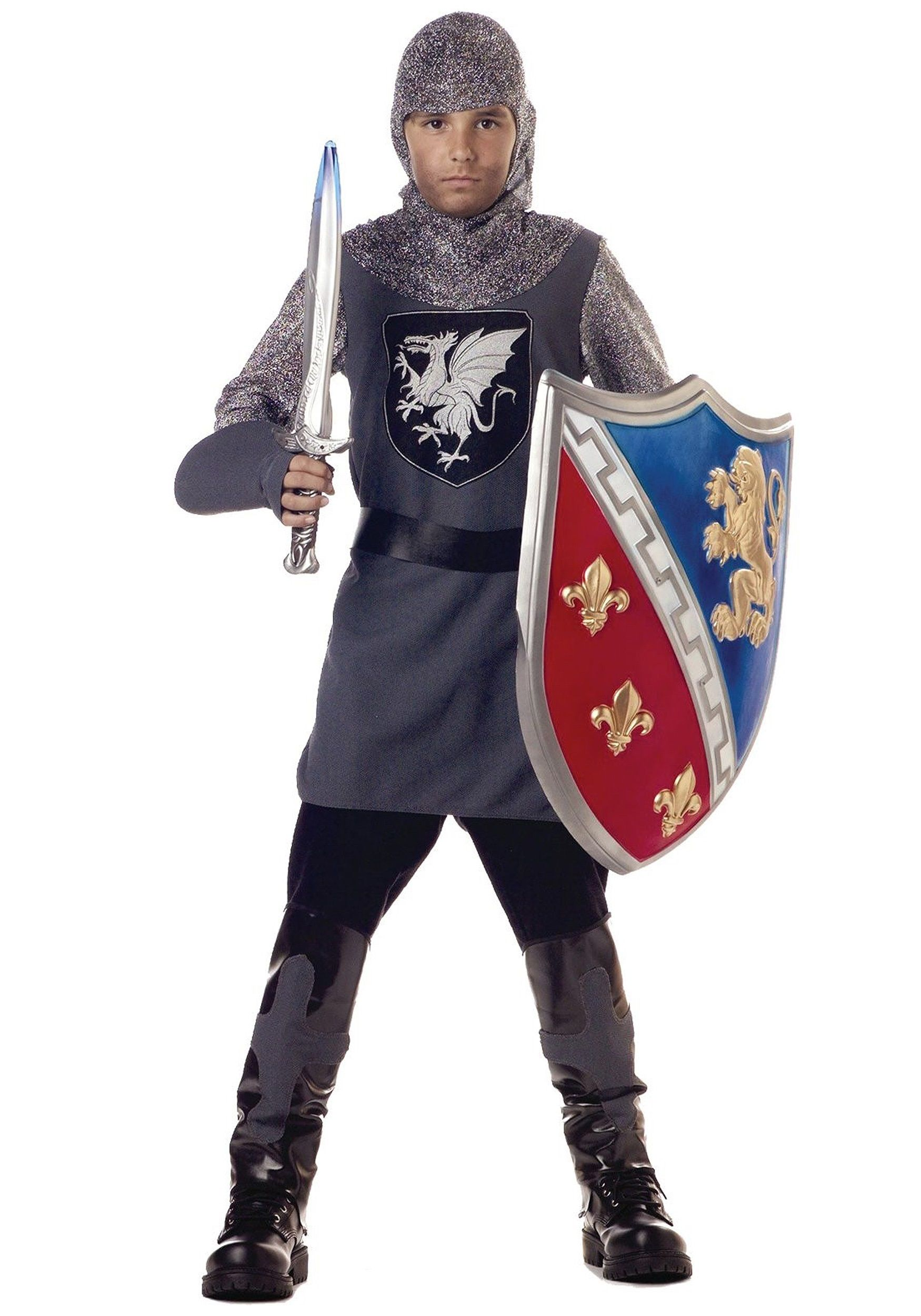 valiant knight child costume outfit includes a grey tunic with faux chainmail sleeves dragon emblem grey gloves faux chainmail hood and