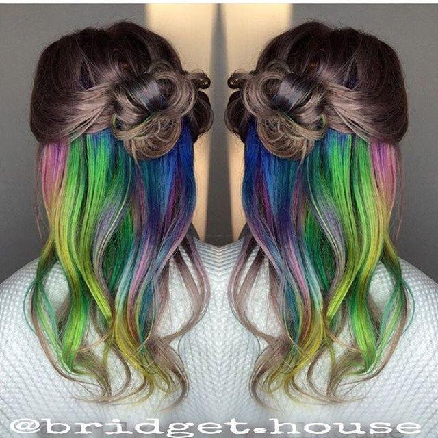Sweet Tarts underlights mermaidhair rainbowhair gr #greenhair #mermaidhair #rain...,  #greenhair #mermaidhair #Rain #rainbowhair #Sweet #Tarts #underlights #UnderlightsHairhowto