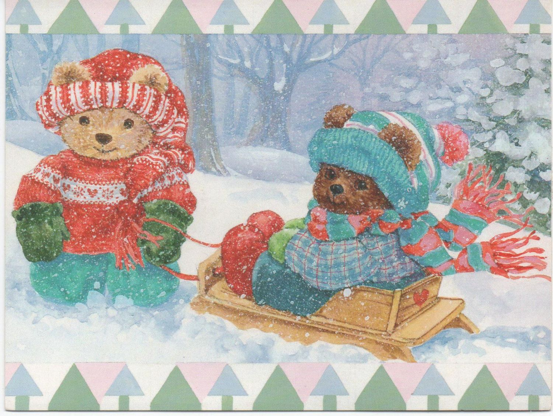 Teddy Bears Sledding Christmas Note card, Used, good shape, c1980 by VintageNEJunk on Etsy