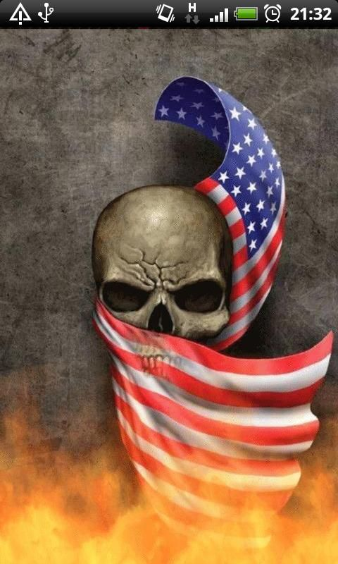American Flag Skull Wallpaper Usa flag skull live