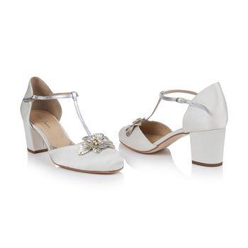 642a5b492db Monaco Ivory Satin Block Heel Wedding Shoes in 2019
