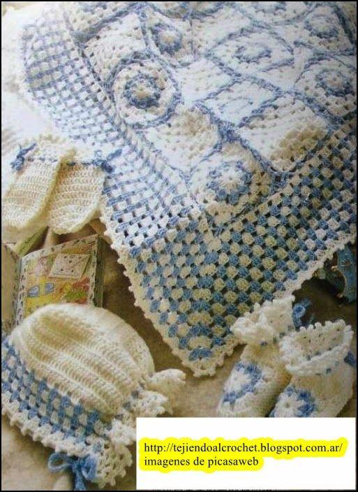 Manta tejida a crochet con su gr fico mantilla para bebe - Manta de bebe a ganchillo ...