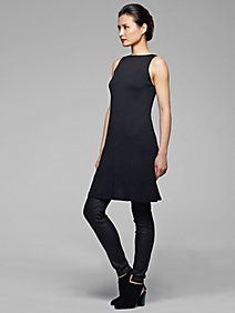 Bateau Neck Dress in Washable Wool Crepe Jersey
