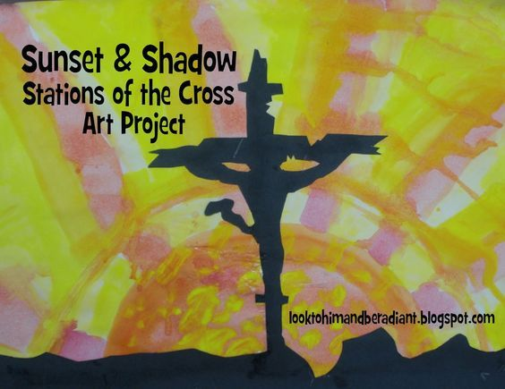 Sunset Shadow Stations Of The Cross Art Project Combination Silhouette And Watercolor