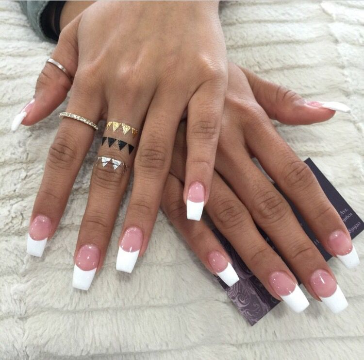 French tip, coffin,shaped nails. Love!!! Might do this next