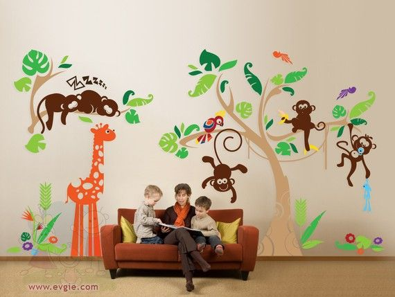 In The Deep Jungle Wall Decals Monkeys Tree Giraffe And Parrot