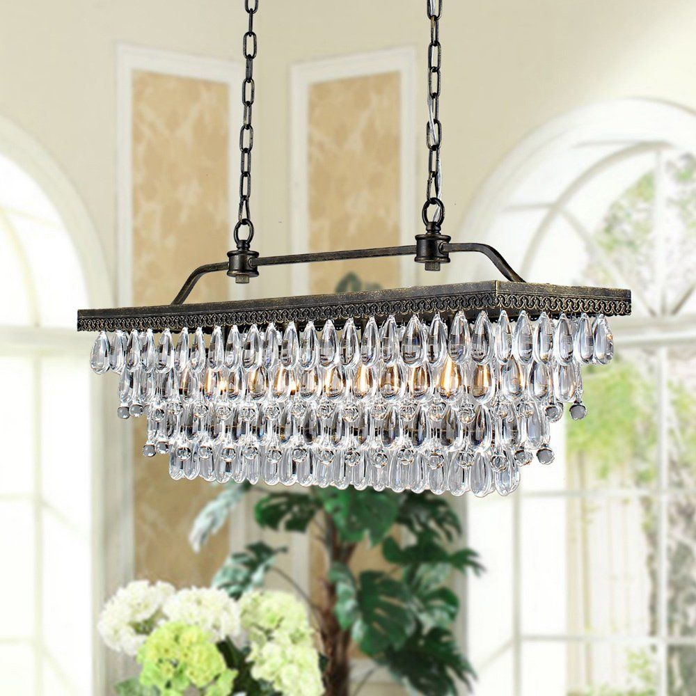 Crystal Chandeliers For Dining Room Unique Antique Copper 4Light Rectangular Crystal Chandelier   Amazon Design Inspiration