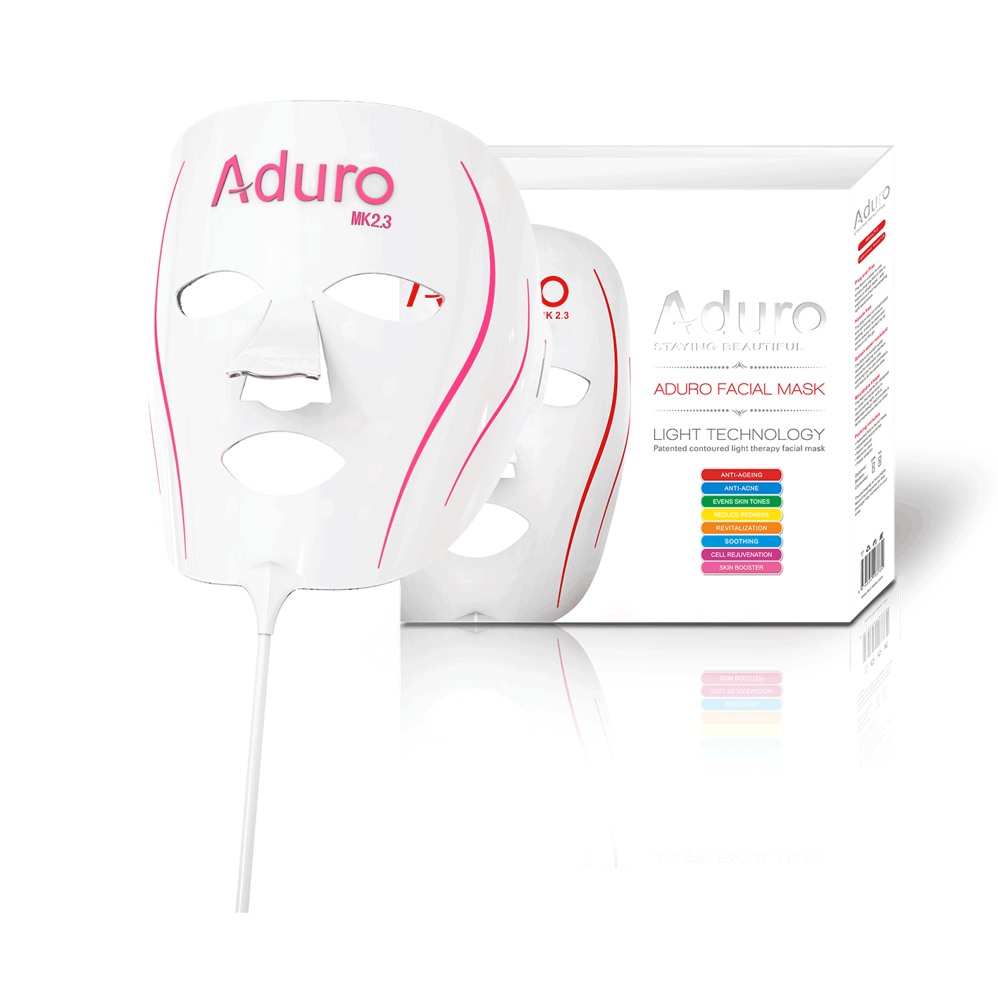 The Aduro 7+1 is our most advanced home facial LED mask. Combining al the benefits of 7 LED colours with added Infra-Red Skin Boosting technology, which penetrates deeper into the skin than any other facial mask and offers the most diverse solution to skin imperfections available.        Free WorldWide Shipping - One Year International Warranty