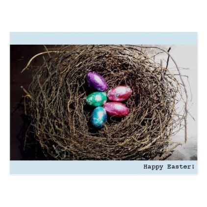 Bright easter eggs in real birds nest photograph postcard bright easter eggs in real birds nest photograph postcard photographer gifts business diy cyo personalize negle Image collections