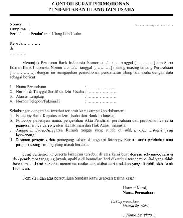 Contoh Surat Permohonan Pendaftaran Ulang Izin Usaha Yang Resmi