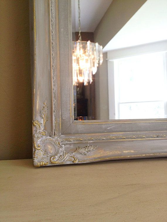 Shabby Chic Wall Mirror ornate baroque vintage wood frame mirror, painted paris gray