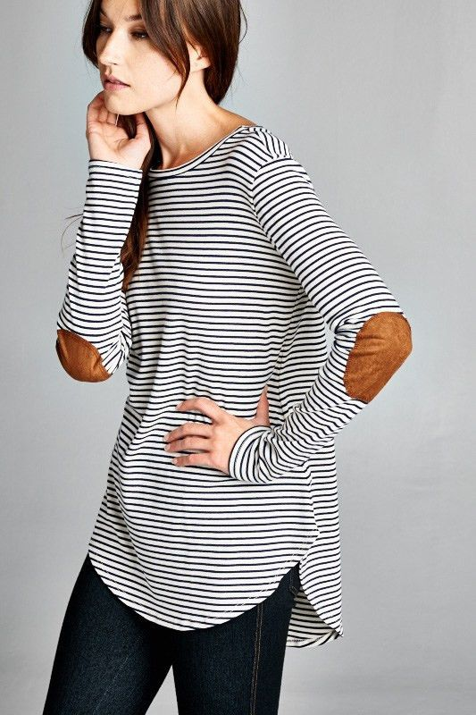 Buy Elbow Patch Striped Long Sleeve Tee at ROUTE 32 for only   29.00 ... f30058de0e84