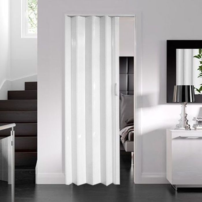 White Sliding Folding Door Pvc Interior Utility Room Divider Closet 6mm 12mm Puertas Correderas Dormitorios Correderas