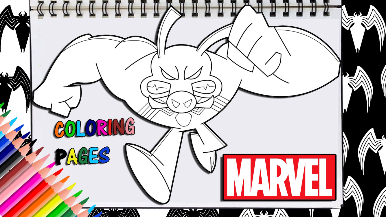 Marvel Battle World Spiderham Venom Coloring Page Coloring Pages Marvel Artwork Digital Artwork