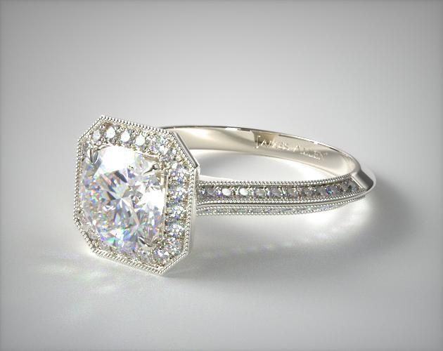 49499 Engagement Rings, Halo, 14k White Gold Octagon Halo