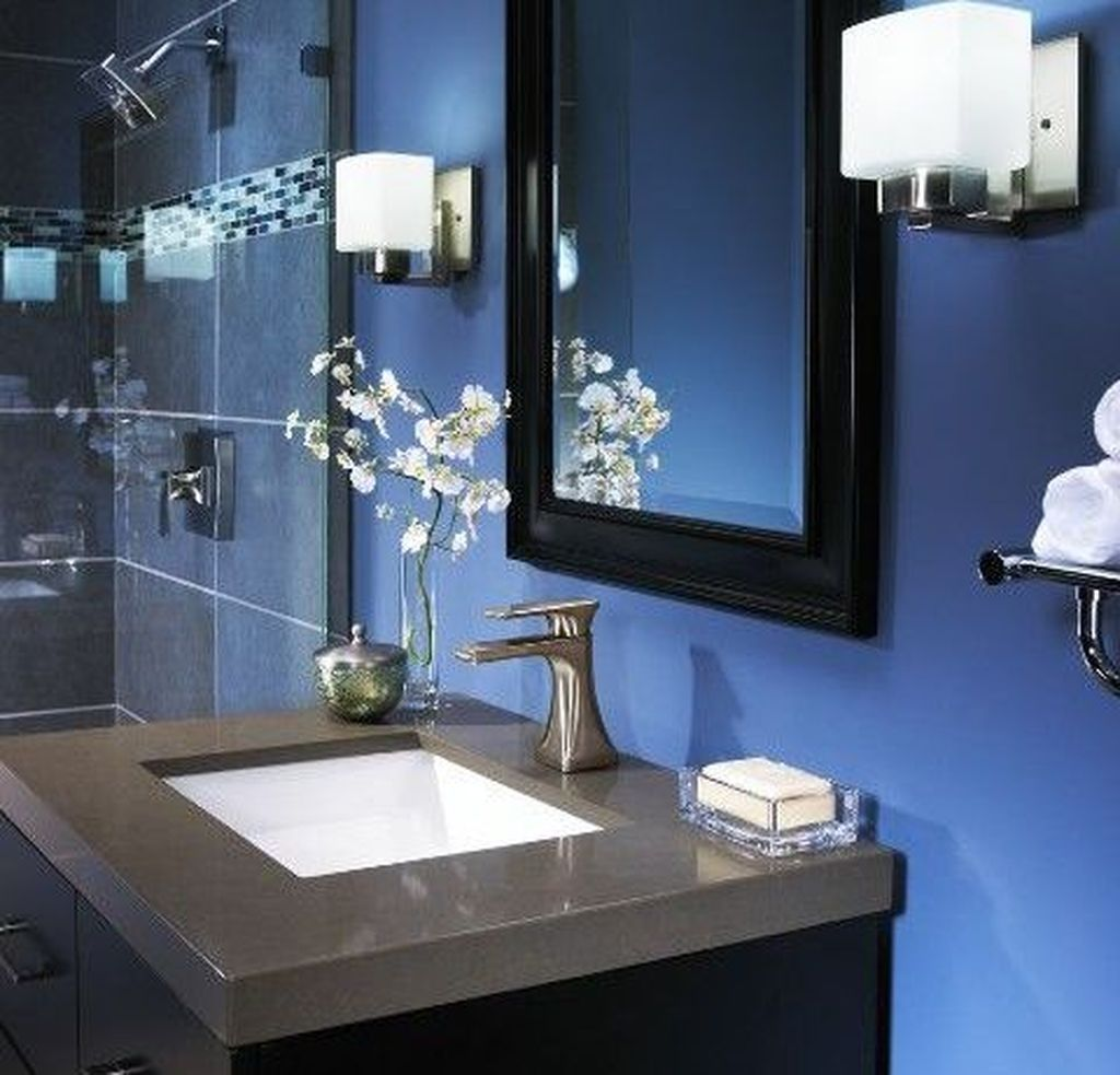 Cool 49 Awesome Gray And Blue Bathroom Design Ideas Blue Bathroom Decor Gray Bathroom Decor Brown Bathroom Decor