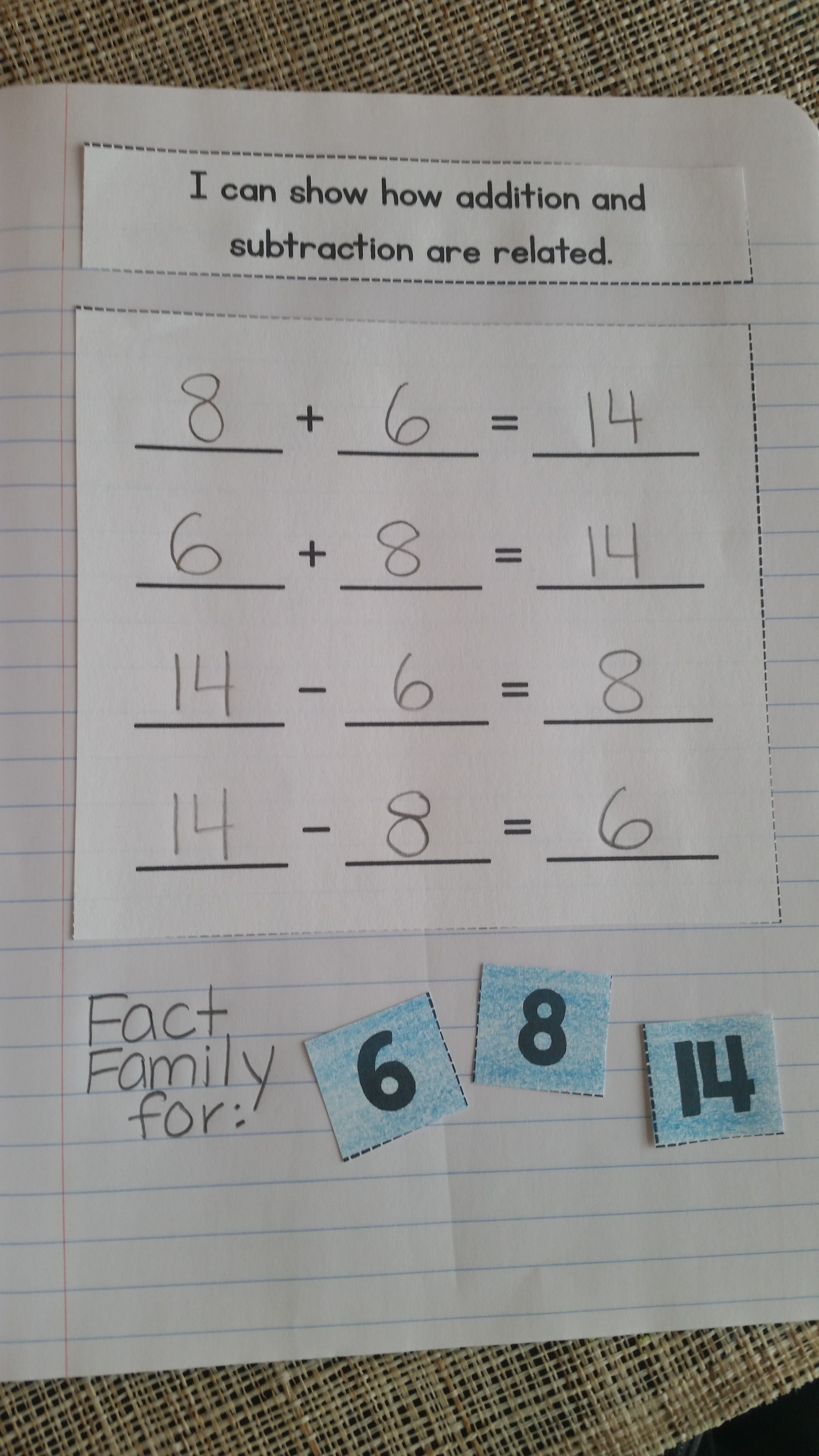 Interactive Math Notebook For 1st Grade Unit 2 Addition And Subtraction