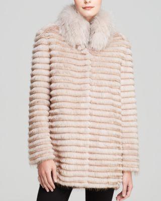 Maximilian Beaver & Rabbit Coat with Fox Fur Collar | Bloomingdale's
