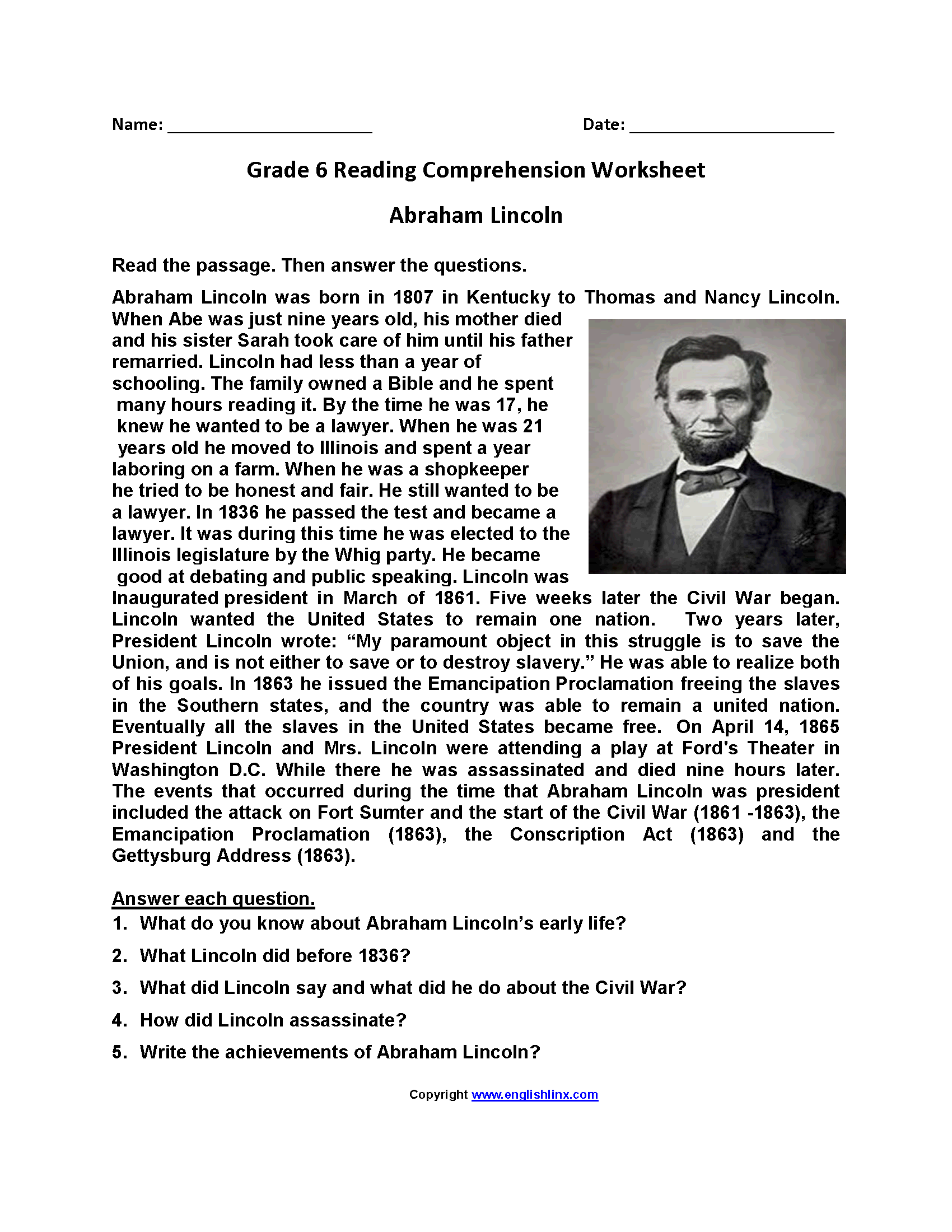 Abraham Lincoln Sixth Grade Reading Worksheets With