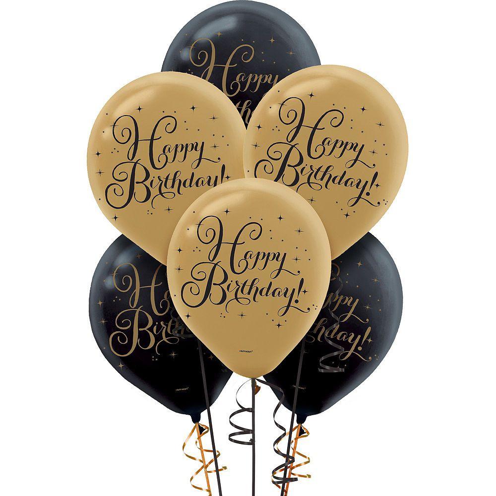 Black & Gold Birthday Balloons 15ct Gold birthday party