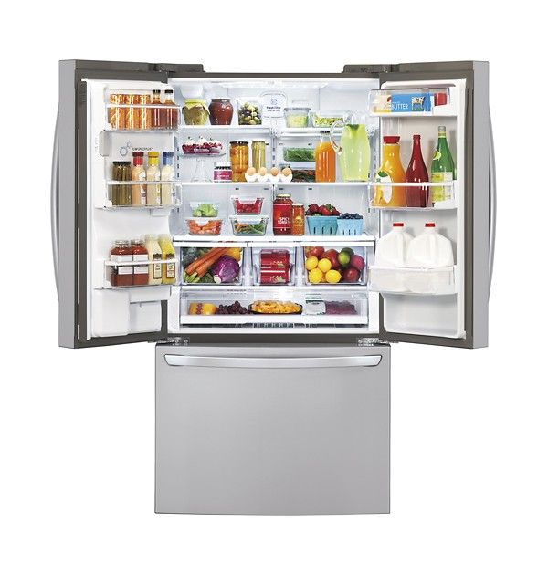 LG - 28.8 Cu. Ft. French Door Refrigerator with Thru-the-Door Ice and Water - Stainless Steel - Alternate View 1