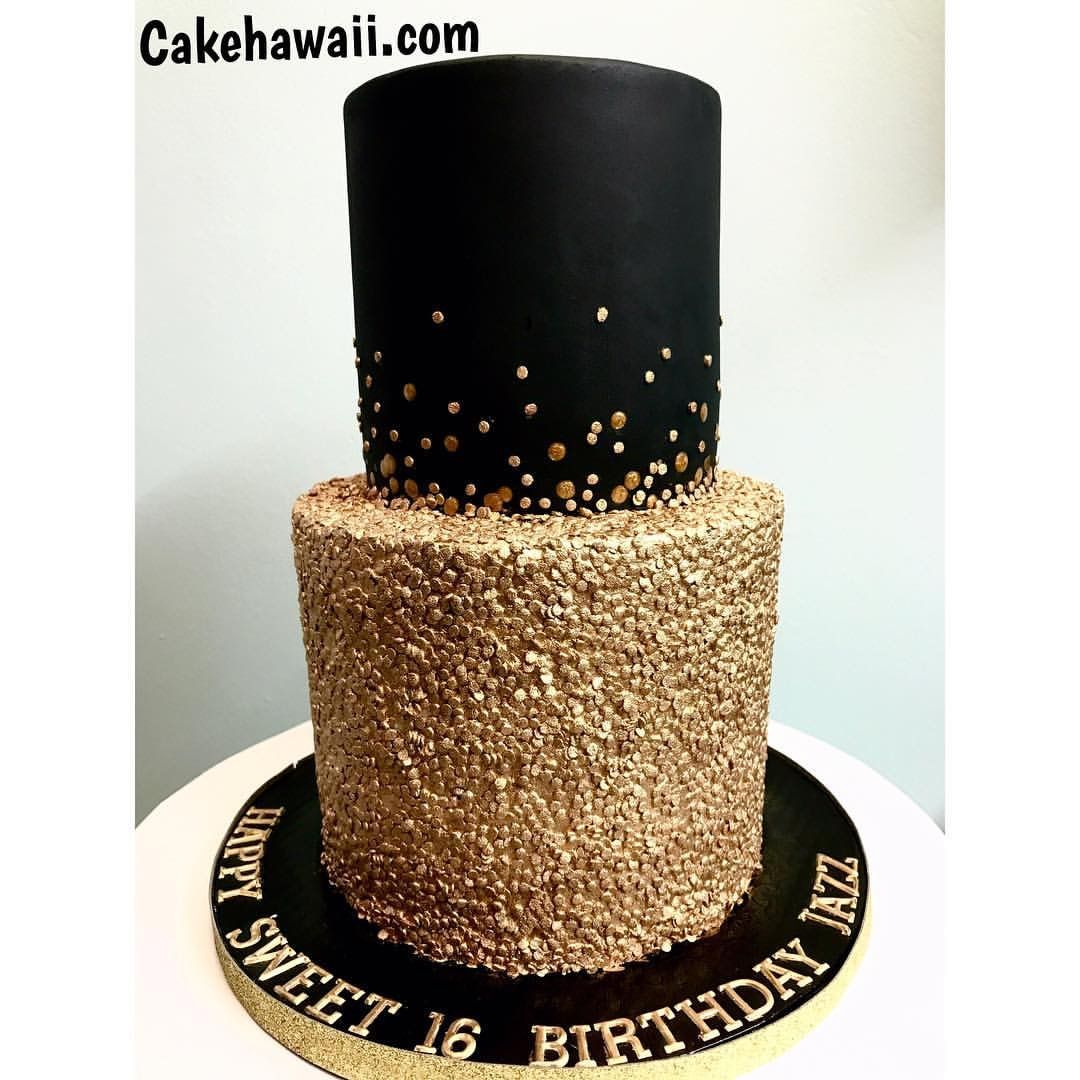 Black And Gold Birthday Cake With Images Black And Gold