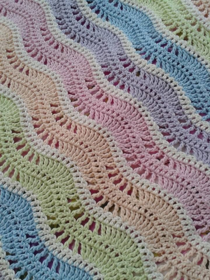 Crochet Blanket Cool Breeze Ripple Afghan Color Combodesign