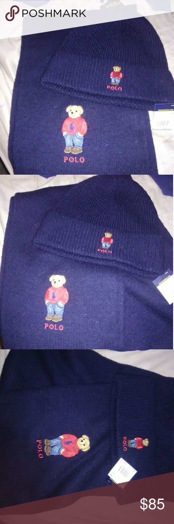 4eec76a1a470 Polo Ralph Lauren set of hat   scarf Bear logo New New authentic with tags Polo  Ralph Lauren set of hat and scarf Navy blue with embroided polo bear  dressed ...