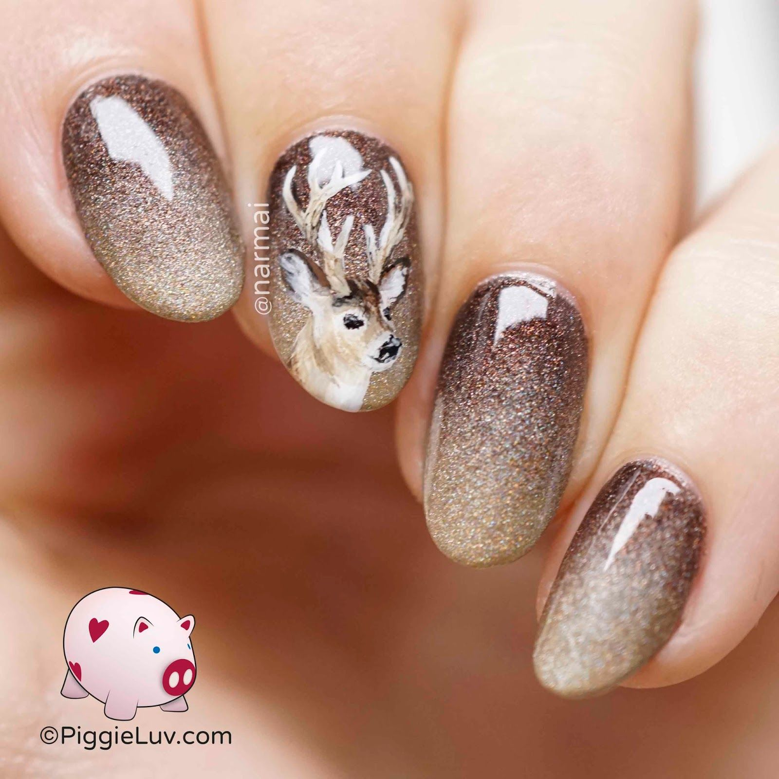 Oh deer! nail art | Deer nails