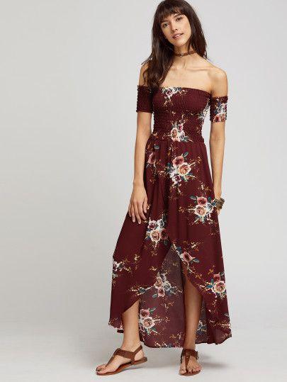 Burgundy Florals Off The Shoulder Shirred Wrap Dress