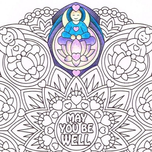 Meditating Figures Emerge From Lovely Lotus Flowers To Emit Wishes Of Wellness Color This Mandala