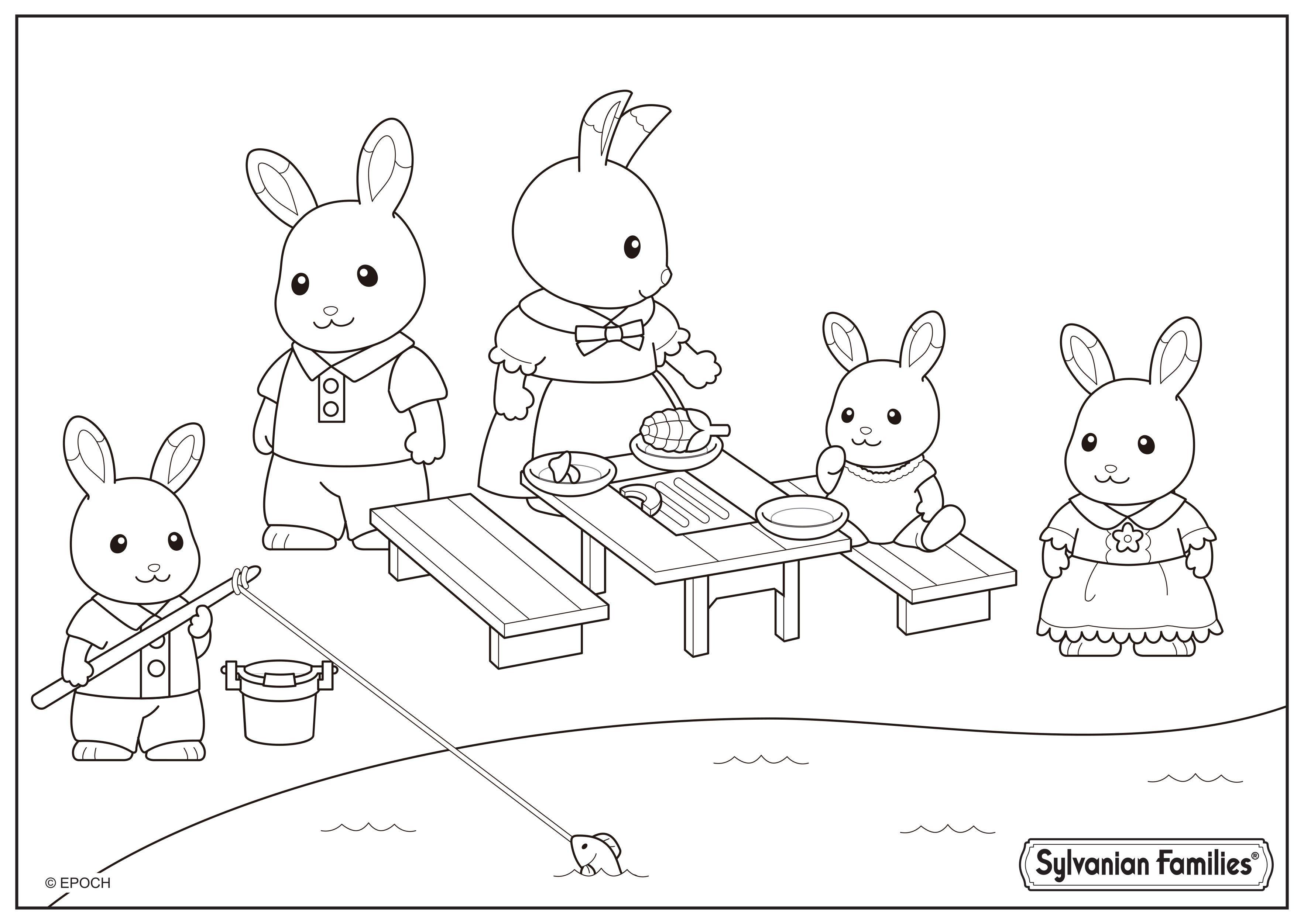 Coloriage du pique nique de la famille lapin  Coloriage