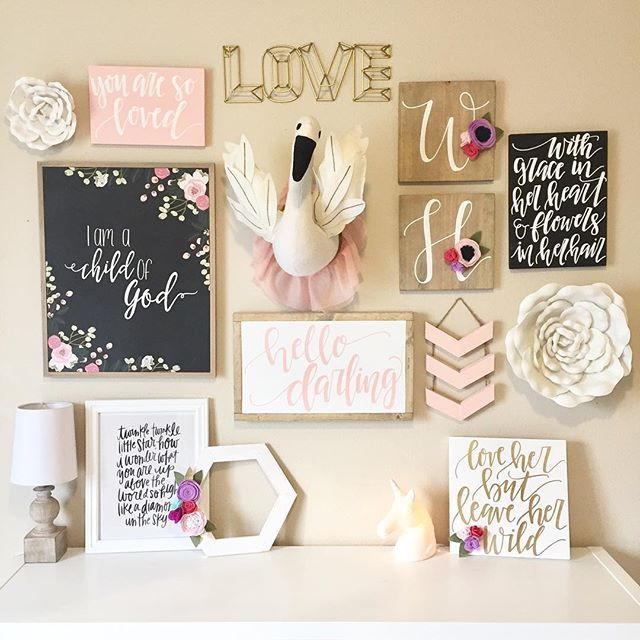 Toddler Girl Room Wall Collage Shared Room Wallcollage Babygirl Nursery Toddlerroom Toddlerdeco Nursery Wall Collage Girls Wall Decor Toddler Girl Room