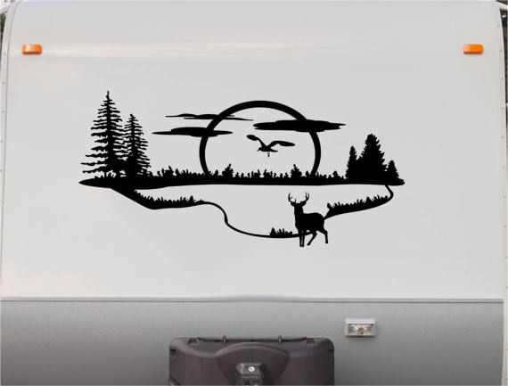 Mountains motorhome stripe kit lake rv stickers trailer stickers camper vinyl decal sticker graphic motorhome decals rv stripe kit