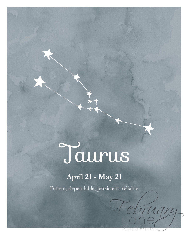 Taurus Zodiac Constellation Wall Art Printable 8x10 Instant