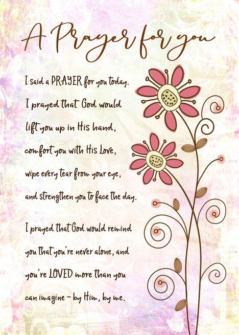 Encouragement, Religious, I Said a Prayer for You Today card