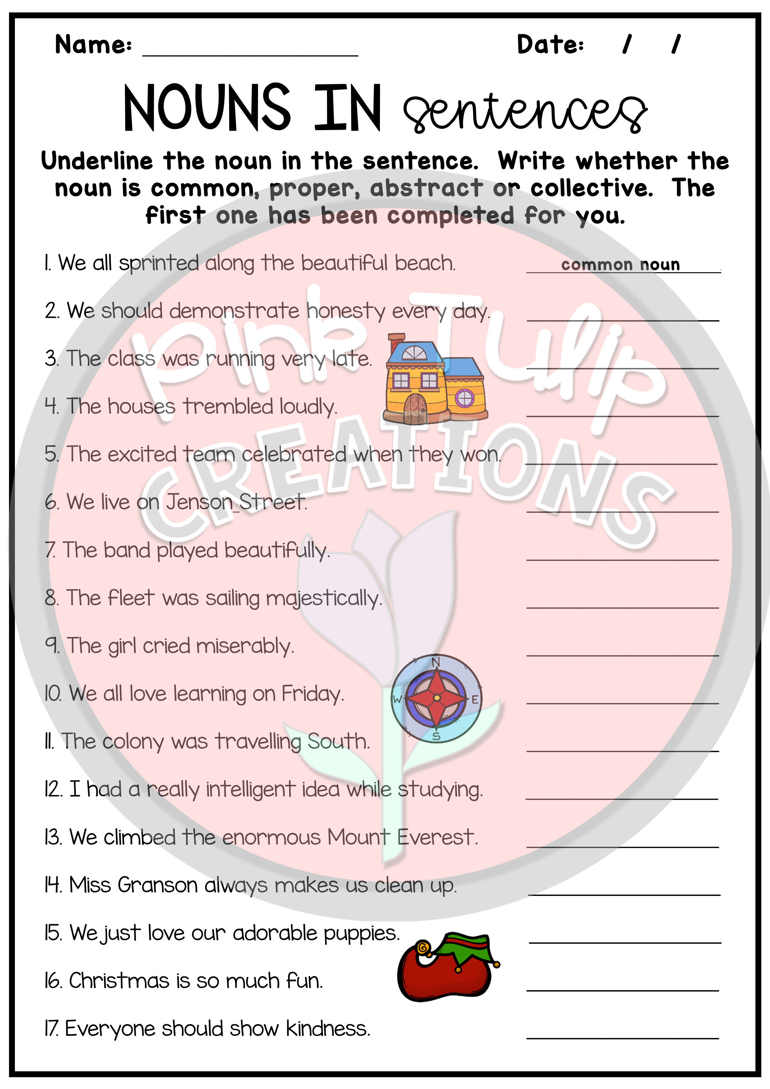 hight resolution of nouns bundle includes 11 worksheets to help students when recognizing and  differentiating between the…   Nouns worksheet