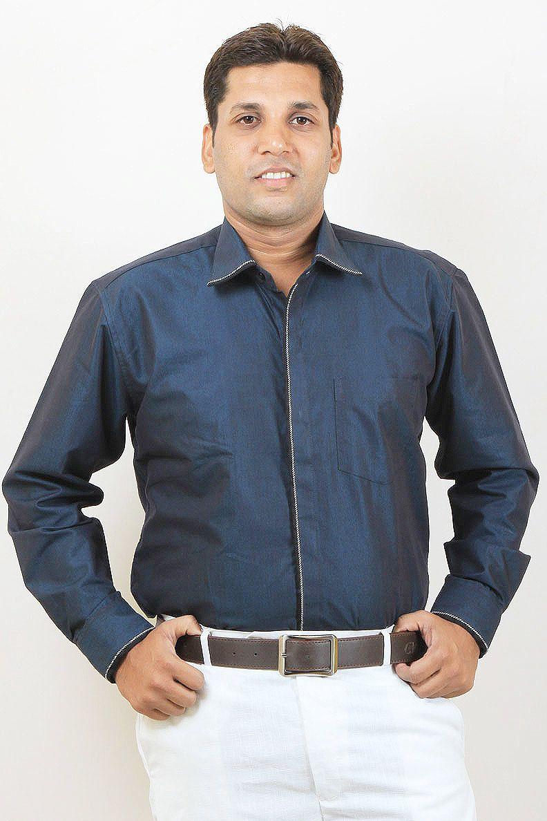 69f0d43a7 Buy Navy Blue Party Wear Linen Shirt For Men Online in India | Party ...
